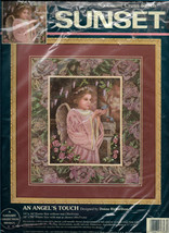 Sunset Cross Stitch Kit An Angels Touch, Angel Dress Light Pink with Wings and  - $18.00