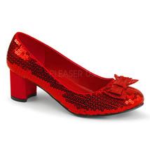 """Women's 2"""" Low Heel Dorothy Oz Red Sequin Pumps Halloween Costume Shoes - $44.95"""
