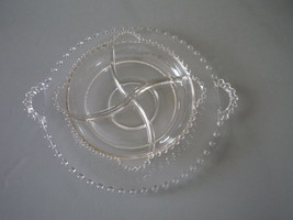 Imperial Glass Elegant Candlewick 2 Piece Lot Cake Plate & 4 Part Relish Nice - $27.00