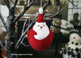 Pottery Barn Kids Velvet Santa Ball Ornament -NIB- A Wonderfully Jolly Touch! - $29.95