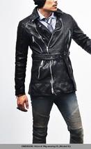 Motorcycle  Men Leather Coat Winter 100% Genuine Real Leather Black Short Long C