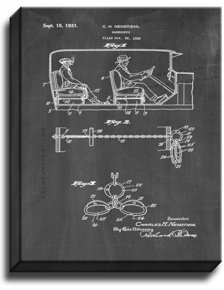 Primary image for Automobile Handcuffs Patent Print Chalkboard on Canvas