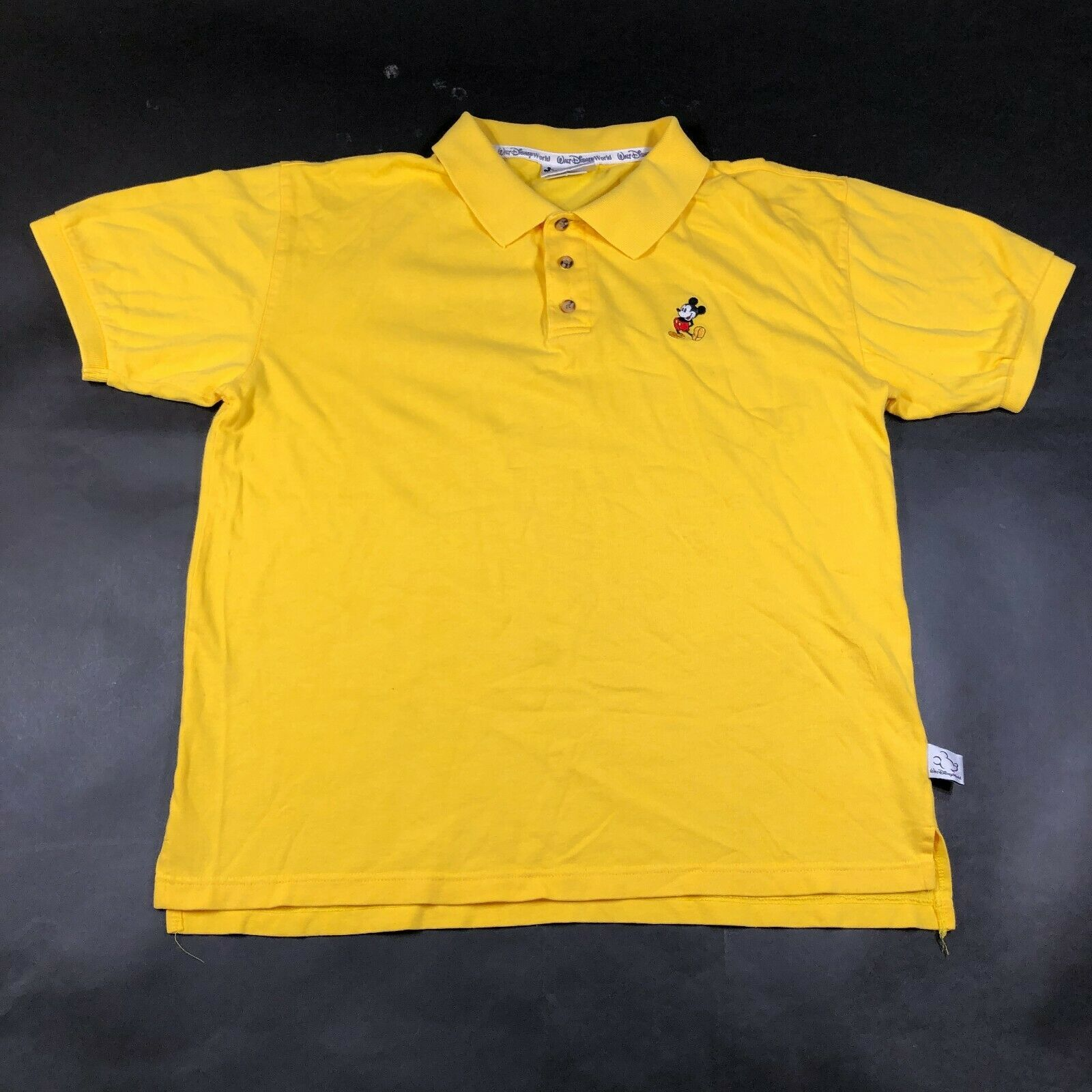 Walt Disney World Polo Shirt Mens S Yellow Embroidered Mickey Mouse Short Sleeve - $14.96