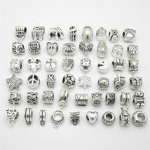 50pcs Bracelet Charm Beads Pandora Mixed Pendant Suits Pandora Bracelet ... - $13.85
