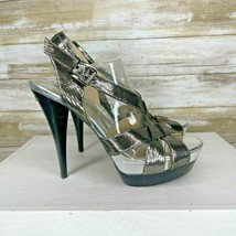 Michael Kors Womens Silver Leather Buckle Heel Slingback Sandal Size 8.5 M - $35.63