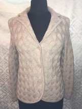 Talbots Petites Wool Womens S Small Cardigan Sweater Brown PS Woven Print - $36.48