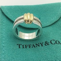Tiffany & Co Sterling Silver 18K Yellow Gold Atlas Groove Ring Size 8.5 - $189.00