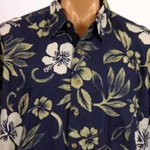 Cooke Street Honolulu Hawaiian Shirt Mens XL Blue Hibiscus Ferns USA Made - $23.36