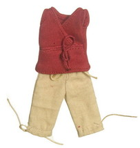 Dollhouse Miniature  Clothes Red V-Neck w/Tan Capri Pants 1:12 Scale - $11.99
