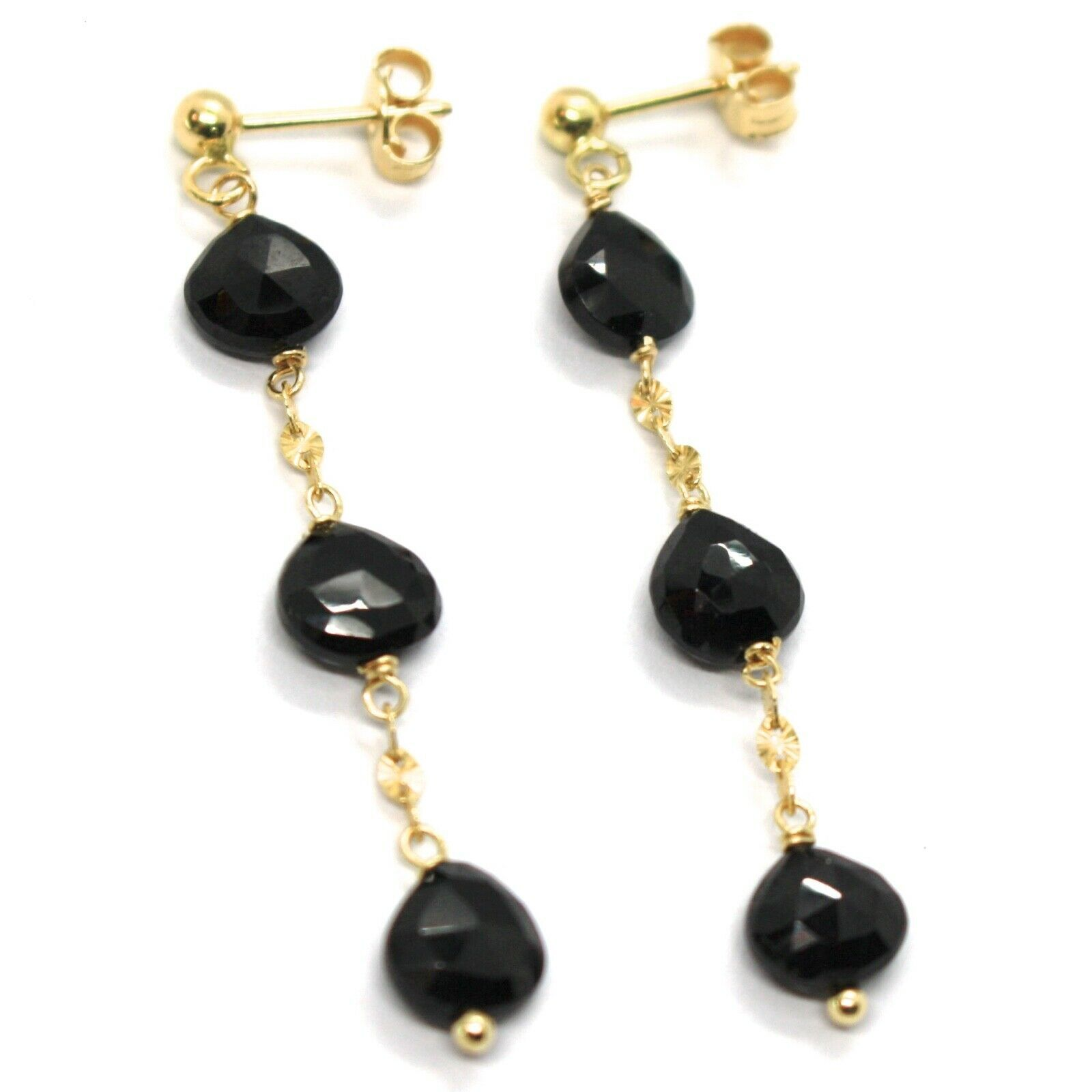 18K YELLOW GOLD PENDANT EARRINGS, BLACK SPINEL DROP, 1.77 INCHES