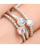 3 Stacking Bands Solid Sterling Silver 925 Ring with Stone Women Band Si... - $22.98
