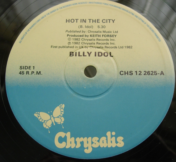 Billy Idol - Hot in the City - Extended Version - Chrysalis Records CHS 12 2625
