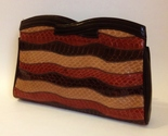 Venetto Snakeskin Clutch Purse Brown Tan Rust Wavy Stripes Handbag Hinged Top