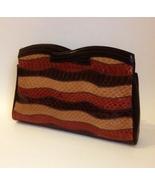 Venetto Snakeskin Clutch Purse Brown Tan Rust Wavy Stripes Handbag Hinge... - $45.00