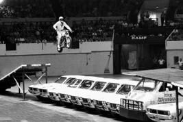 Vintage Harley Davidson Evel Knievel jumping cars photo steel sign biker... - $18.80