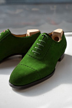 Green Suede Leather Oxford Style Formal Laced Up Quarter Brogues Cap Toe... - $139.99+