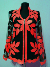 V Neck Red Leather Leaf Jacket Womens All Colors Sizes Zip Lightweight S... - $115.00+