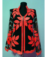 V Neck Red Leather Leaf Jacket Womens All Colors Sizes Zip Lightweight S... - $150.00