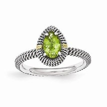ANTIQUED STERLING SILVER & 14K GOLD ACCENT PEAR SHAPED  PERIDOT RING -  ... - £42.78 GBP