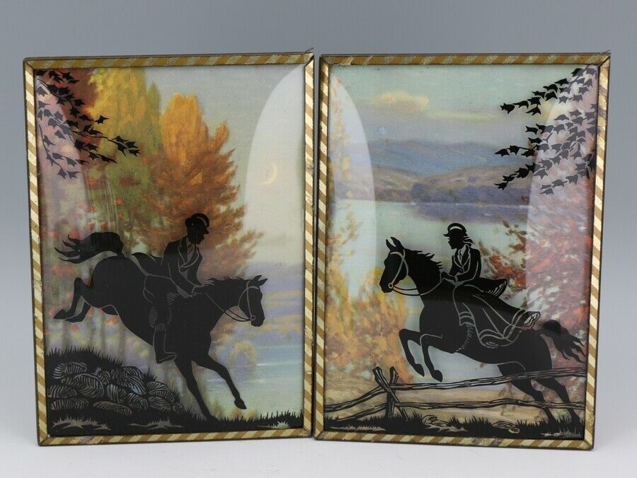 """Vintage Silhouette Convex Glass Picture Pair 5"""" by 7"""" Horse Chase Scenes"""