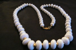 Vintage Napier White & Gold Lucite Round Bead Goldtone Chain Necklace - $24.74