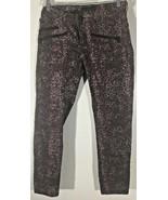 Women's Animal Spot Jeans Size 14M Purple Black Pants Rock & Republic Ba... - $15.83