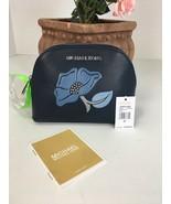New Michael Kors Cosmetic Bag Nouveau Floral Travel Pouch Denim Blue $14... - $97.95