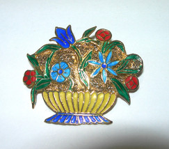 VINTAGE ART DECO ENAMEL CHINESE CHINA FILIGREE FLOWER BASKET BOUQUET BRO... - $95.00