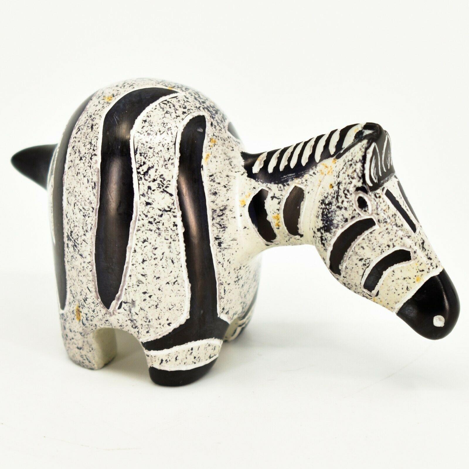 Crafts Caravan Hand Carved Soapstone Grey & Black Chubby Zebra Figurine Kenya