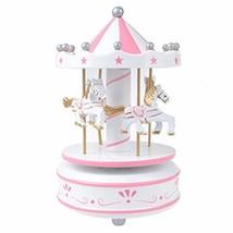 JiaHui Vintage Pink Wooden Merry-Go-Round Horse Christmas Birthday Gift ... - $16.47
