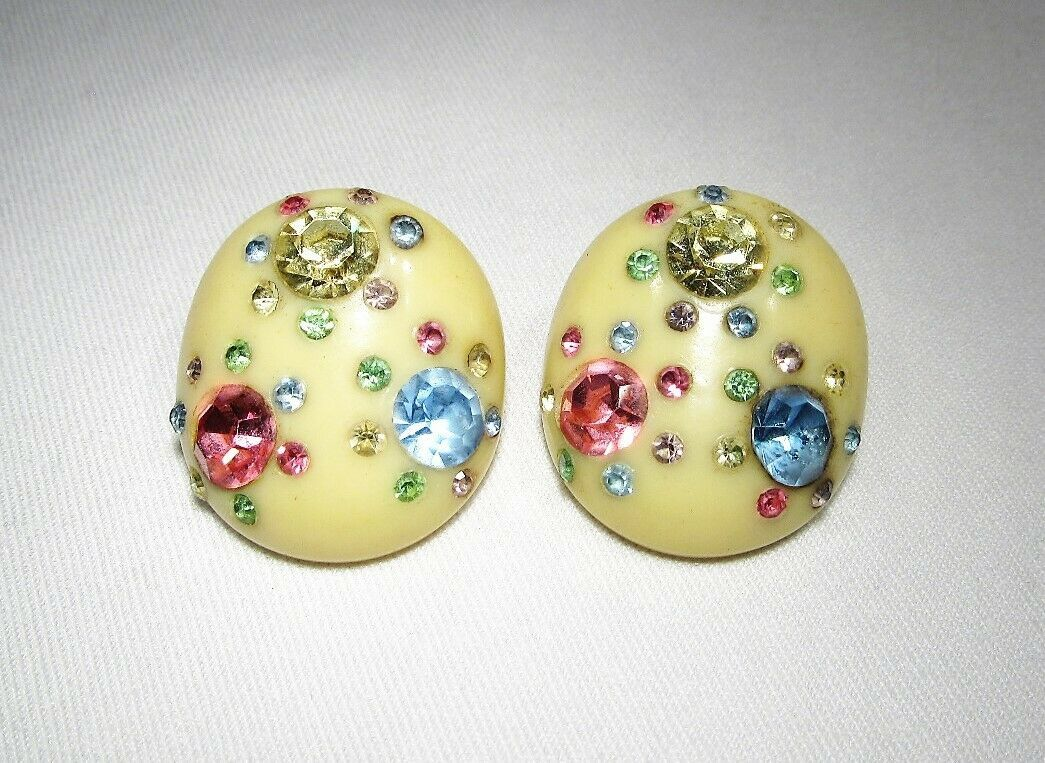 Primary image for Vintage Fruit & Milk Glass Beaded Clip Earrings C2815