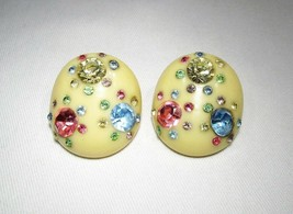 Vintage Fruit & Milk Glass Beaded Clip Earrings C2815 - $33.77