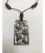 Chico's Leaf Brown Red & Silver Tone Open Work Pendant Cord Beaded Necklace - $39.59