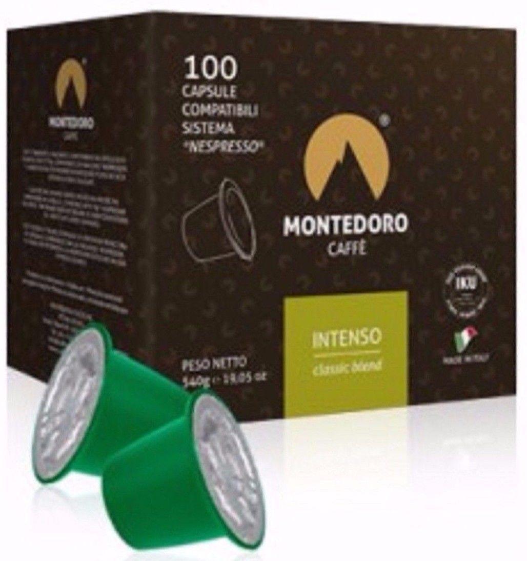 200 Italian Nespresso Capsules Compatible pods. Montedoro Intenso