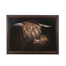 Highland Bull Brown Black Lap Tray Beaded Cushion Heat Proof To 90°C–43X33CM - $36.01