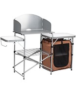 Foldable Outdoor BBQ Portable Grilling Table With Windscreen Bag - $115.36