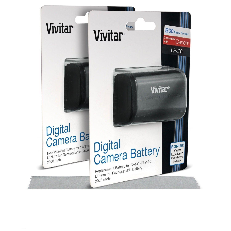 2 * Hi Capacity 2000mAh Vivitar LP-E6 Li-Ion Battery - Canon EOS 6D 60D 7D M II