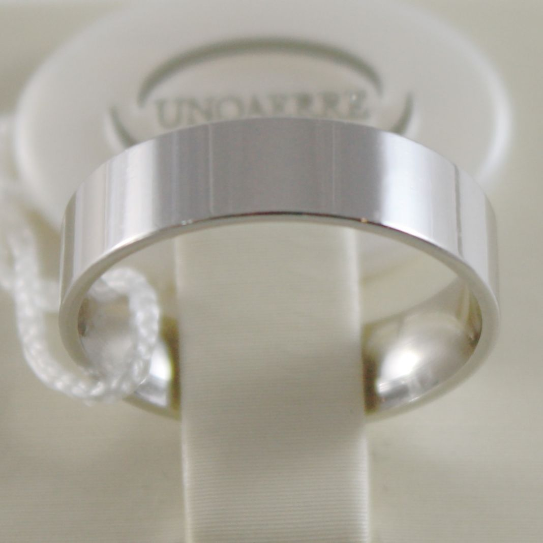 18K WHITE GOLD WEDDING BAND UNOAERRE SQUARE RING MARRIAGE 5 MM, MADE IN ITALY