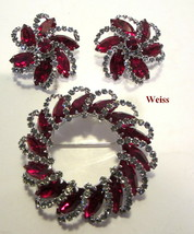 MINT Vintage 1950's WEISS  Red & Gray Rhinestone Brooch Pin & Clip Earrings - $79.95