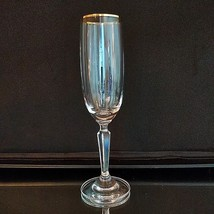 1 (One) Gorham Golden Sunset Optic Lead Crystal Champagne Flute W 24K Gold Trim - $21.84