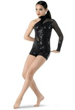 Weissman Unitard Black One Shoulder Sequins Dance Gymnastic Size Medium ... - $25.06