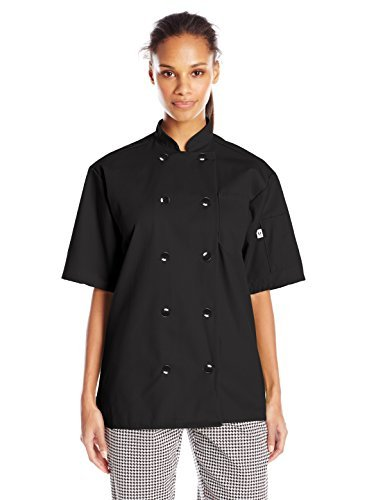 Uncommon Threads Unisex South Beach Chef Coat Short Sleeves, Black, Large