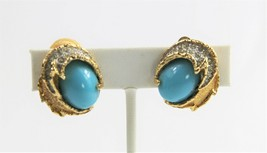 VINTAGE Jewelry JOMAZ JOSEPH MAZER CABOCHON & PAVE RHINESTONE CLIP EARRINGS - $65.00
