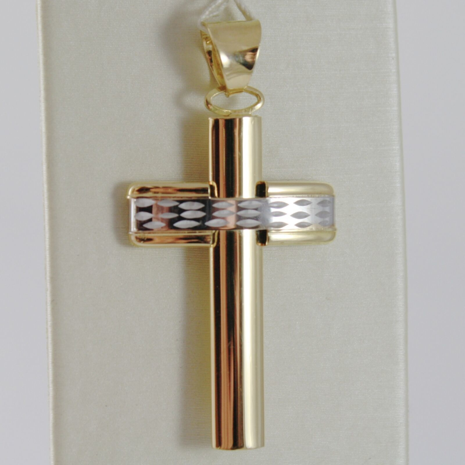 18K YELLOW WHITE GOLD CROSS SMOOTH STYLIZED FINELY WORKED CURVED MADE IN ITALY