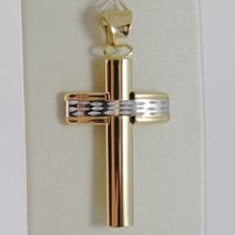 18K YELLOW WHITE GOLD CROSS SMOOTH STYLIZED FINELY WORKED CURVED MADE IN ITALY image 1