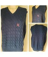 Polo Golf Ralph Lauren Men's Sweater Vest Cable Knit Pullover Navy Blue ... - $32.08