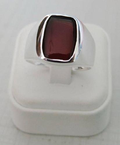 925 Sterling Silver Natural Unpolished Garnet Gemstone Handmade Men's Ring image 2
