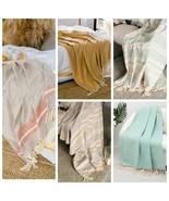 New Blanket Plaid Throw Cotton Beige Turquoise Blue White Vintage Yellow... - $45.00