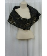 SL Fashions New York Shawl Sz OS Black Gold Sequined Cocktail Evening Wr... - $37.35