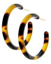 Tortoise Shell Hoop Earrings 1 5/8 Inches Stainless Steel Posts backs - $16.99